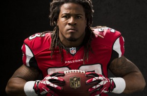 Atlanta Falcons running back Devonta Freeman (33) poses for a portrait during the NFLPA Rookie Premiere on Saturday, May 31, 2014 in Los Angeles. (Ric Tapia/AP Images for NFL Players Inc.)