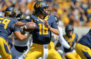 Sep 5, 2015; Berkeley, CA, USA; California Golden Bears quarterback Jared Goff (16) looks to throw the ball against the Grambling State Tigers during the first quarter at Memorial Stadium. Mandatory Credit: Kelley L Cox-USA TODAY Sports