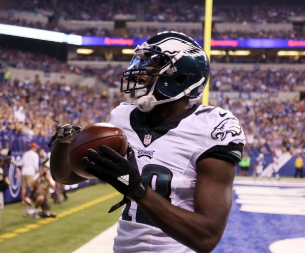 Aug 27, 2016; Indianapolis, IN, USA; Philadelphia Eagles wide receiver Dorial Green-Beckham (18) catches a touchdown pass against the Indianapolis Colts at Lucas Oil Stadium. Mandatory Credit: Brian Spurlock-USA TODAY Sports