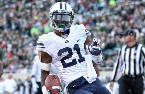 Oct 8, 2016; East Lansing, MI, USA;  Brigham Young Cougars running back Jamaal Williams (21) runs the ball for a touchdown during the second half of a game against the Michigan State Spartans at Spartan Stadium. Mandatory Credit: Mike Carter-USA TODAY Sports